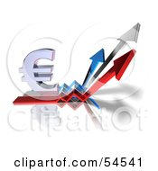 Royalty Free RF Clipart Illustration Of A 3d Euro Symbol On Three Increase Arrows Version 3