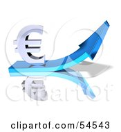Royalty Free RF Clipart Illustration Of A 3d Euro Symbol Riding On A Blue Arrow Version 1