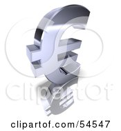 Royalty Free RF Clipart Illustration Of A 3d Chrome Euro Symbol On A Reflective White Surface Version 2