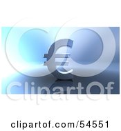 Royalty Free RF Clipart Illustration Of A 3d Euro Symbol On A Metallic Background Version 4