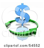 Royalty Free RF Clipart Illustration Of Green Arrows Circling Around A Blue 3d Dollar Symbol Version 1