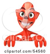 Royalty Free RF Clipart Illustration Of A 3d Fox Standing Behind A Blank Sign by Julos
