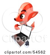 Royalty Free RF Clipart Illustration Of A 3d Fox Holding A Laptop Pose 5 by Julos