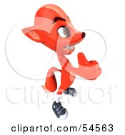 Royalty Free RF Clipart Illustration Of A 3d Fox Facing Right And Giving The Thumbs Up by Julos