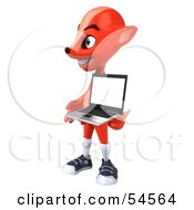 3d Fox Holding A Laptop Pose 3