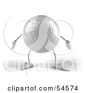 Royalty Free RF Clipart Illustration Of A 3d Golfball With Arms And Legs Facing Front by Julos
