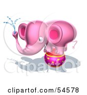 Royalty Free RF Clipart Illustration Of A 3d Pink Elephant Character Standing On A Circus Ball And Spraying Water Pose 2 by Julos
