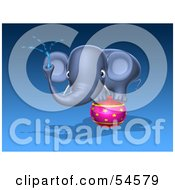 Royalty Free RF Clipart Illustration Of A 3d Blue Elephant Character Standing On A Circus Ball And Spraying Water Pose 1 by Julos