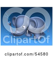Royalty Free RF Clipart Illustration Of A 3d Blue Elephant Character Spraying Water Pose 3 by Julos