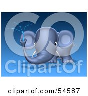 Royalty Free RF Clipart Illustration Of A 3d Blue Elephant Character Spraying Water Pose 1 by Julos