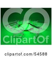 Royalty Free RF Clipart Illustration Of A Circle Of 3d Shopping Carts Around Circling Green Arrows Version 2