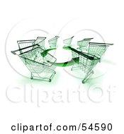 Royalty Free RF Clipart Illustration Of A Circle Of 3d Shopping Carts Around Circling Green Arrows Version 4