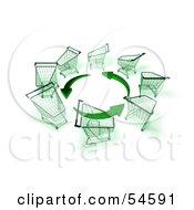 Circle Of 3d Shopping Carts Around Circling Green Arrows Version 3 by Julos