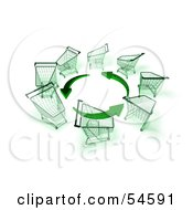 Royalty Free RF Clipart Illustration Of A Circle Of 3d Shopping Carts Around Circling Green Arrows Version 3
