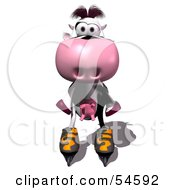 Royalty Free RF Clipart Illustration Of A 3d Dairy Cow Character Roller Blading by Julos