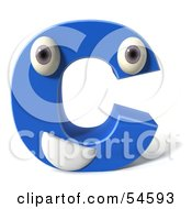 3d Blue Letter C With Eyes And A Mouth