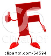 Royalty Free RF Clipart Illustration Of A 3d Red Letter F With Arms And Legs Giving The Thumbs Up