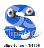 3d Blue Letter S With Eyes And A Mouth by Julos
