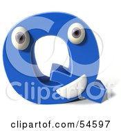 3d Blue Letter Q With Eyes And A Mouth by Julos