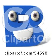 3d Blue Letter B With Eyes And A Mouth by Julos