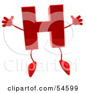 3d Red Letter H With Arms And Legs Holding His Arms Out