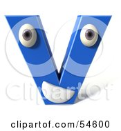 3d Blue Letter V With Eyes And A Mouth by Julos