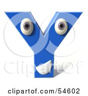 3d Blue Letter Y With Eyes And A Mouth by Julos