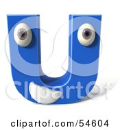 3d Blue Letter U With Eyes And A Mouth by Julos