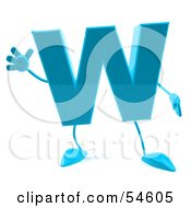 3d Blue Letter W With Arms And Legs