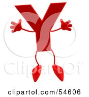 3d Red Letter Y With Arms And Legs