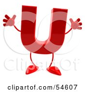 3d Red Letter U With Arms And Legs