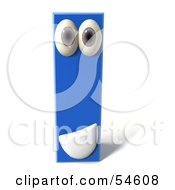 3d Blue Letter I With Eyes And A Mouth by Julos