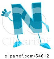 Royalty Free RF Clipart Illustration Of A 3d Blue Letter N With Arms And Legs