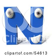 3d Blue Letter N With Eyes And A Mouth by Julos