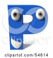 3d Blue Letter P With Eyes And A Mouth