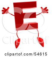 3d Red Letter E With Arms And Legs