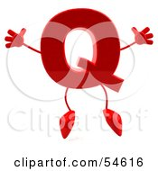 3d Red Letter Q With Arms And Legs