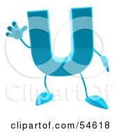 3d Blue Letter U With Arms And Legs