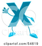Royalty Free RF Clipart Illustration Of A 3d Blue Letter X With Arms And Legs