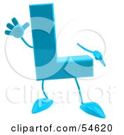 3d Blue Letter L With Arms And Legs
