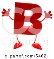 3d Red Letter B With Arms And Legs