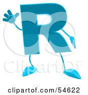 Royalty Free RF Clipart Illustration Of A 3d Blue Letter R With Arms And Legs