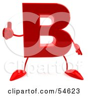 3d Red Letter B With Arms And Legs Giving The Thumbs Up