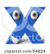 3d Blue Letter X With Eyes And A Mouth by Julos
