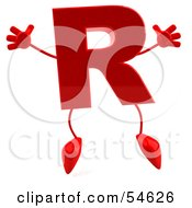 3d Red Letter R With Arms And Legs