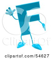 3d Blue Letter F With Arms And Legs