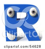 3d Blue Letter R With Eyes And A Mouth by Julos