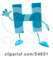 Royalty Free RF Clipart Illustration Of A 3d Blue Letter H With Arms And Legs