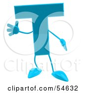3d Blue Letter T With Arms And Legs