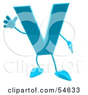 Royalty Free RF Clipart Illustration Of A 3d Blue Letter V With Arms And Legs